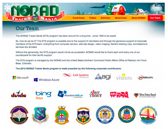 "Goodbye, Google. NORAD Tracks Santa has a new ""team"" page listing corporate sponsors. Microsoft tops the list; Bing Maps is prominent and Google is nowhere to be found."