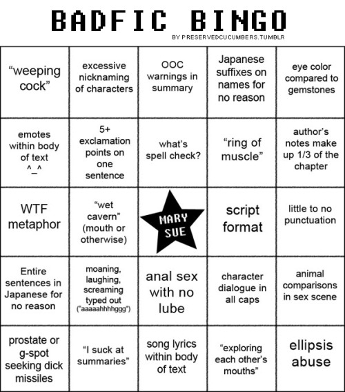 A Badfic Bingo card to take with you to fanfiction.net! I just read one that almost hit all of these. My face hurts from laughing so much.