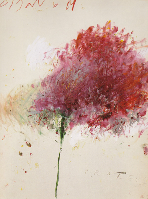 dailyartspace:  Proteus, 1984 by Cy Twombly Submitted by special guest blogger Alie Cline of Cave to Canvas