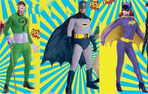 comicsalliance:  Classic 1966 'Batman' Halloween Costumes Are Coming This Year By Chris Sims After years of being unable to capitalize on the classic Batman TV show, it looks like Warner Bros. and DC are wasting absolutely no time on making up for that. Since merchandising rights were sorted out, they've announced a new line of action figures, a digital comic series, and now, we're getting full-on Batman '66 costumes for Halloween.The costumes include Batman, Robin, Batgirl, the Riddler, Catwoman and the Joker, and for store-bought costumes, they actually look pretty good — even if the Joker doesn't include a moustache. Check out bigger pictures on ComicsAlliance!  I'm pretty quick to scrutinize store-bought Halloween costume replicas, but these costumes look pretty dope (though Batgirl could use a bucket of glitter).