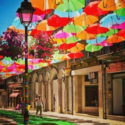 sheiiz:  Places to be. #Portugal #Umbrella #streets #colors #loveit