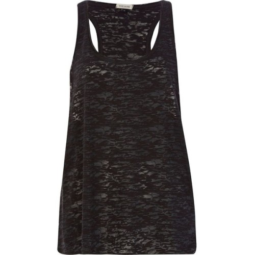 linda-colmenares-se-feliz:  River Island Black burnout racer back tank top   ❤ liked on Polyvore (see more sleeveless tops)