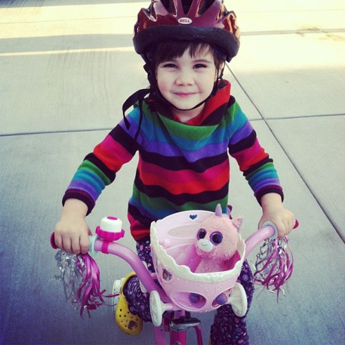 Pink Uni likes to go for bike rides #lategram #zara #nannylife