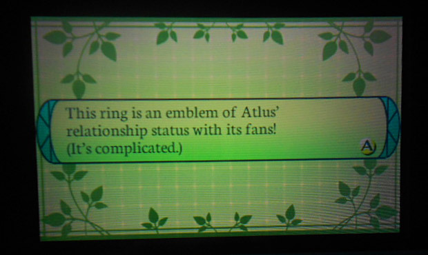 Atlus' relationship status with fans This message (posted by Coney Island Disco Palace) comes up when you register one of the many QR codes distributed for Etrian Odyssey IV — if Atlus planned it right, the publisher would have released this through the game's Facebook page. If you missed the link earlier, this Into The Labyrinth forum thread is pretty good for collecting EOIV QR codes. I just found a couple items I hadn't seen before (Matador Rapier and Sarcophagus Armor), and there are a bunch of quests littered throughout the thread. BUY Etrian Odyssey IV, other upcoming games