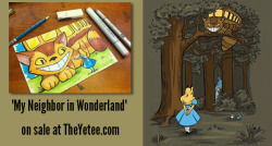 """My Neighbor in Wonderland"" shirt on sale at the Yetee. Marker sketch giveaway going on on my Facebook page.  http://www.theyetee.com/  https://www.facebook.com/KarenHallion"