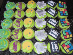 awkwardcupcake:  80s themed cupcakes1 by Whimsical Cupcakes on Flickr.