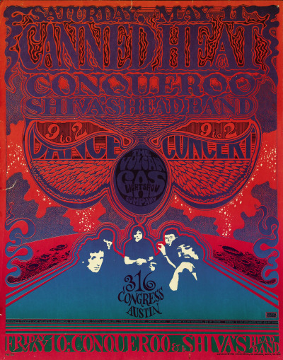 psychedelic-sixties:  Canned Heat | Conqueroo | Shiva's Head Band, May 10 & 11, 1968 - Vulcan Gas Company Artist Gilbert Shelton