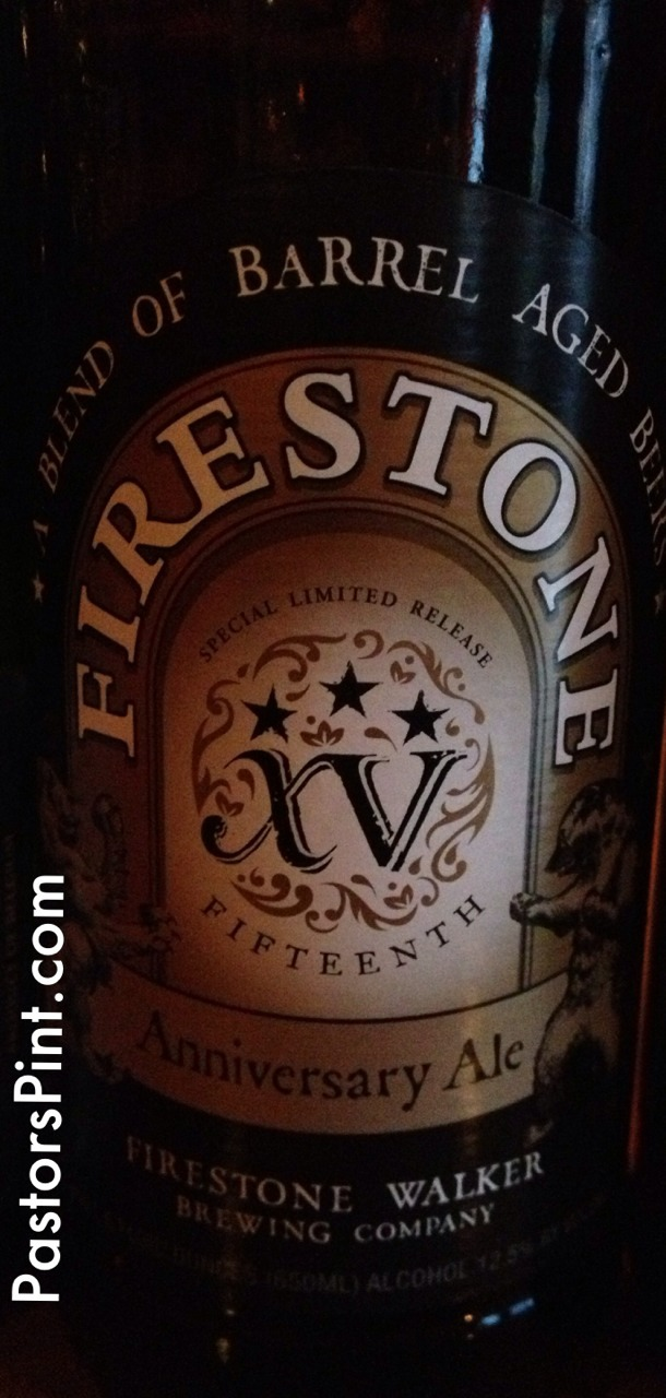 Firestone XV -Firestone Walker Brewing Co.  Sweet stout with plenty of alcohol burn.  Chocolate, carmel, raisin, oak, and vanilla flavors.  Good beer.  3 Stars