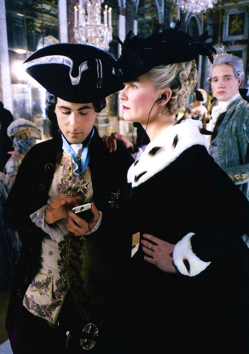 filmchrist:  Jason Schwartzman and Kirsten Dunst behind the scenes of Marie Antoinette
