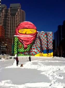 Os Gemeos in the Boston Snow #streetart (image Geoff Hargadon)