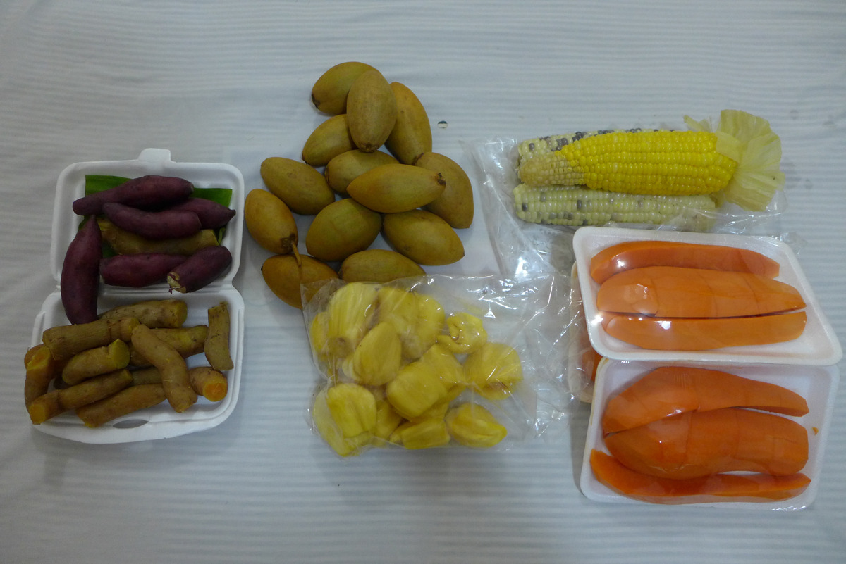 tonight's menu: sweet potatoes, sapodilla, jackfruit, steamed sweet corn, and papaya. time to grub.