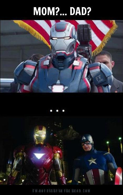 Seriously, how were there ZERO references to Captain America in Iron Man 3? The Patriot Armor was just asking for a snarky zinger or two.