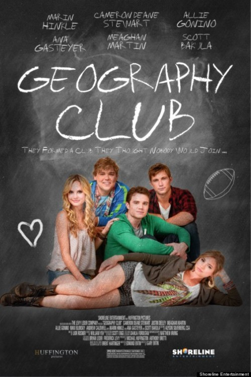 Geography Club (2013)  At Goodkind High School, a group of students of varying sexual orientation form an after-school club a as a discrete way to share their feelings and experiences.  Cast: Marin Hinkle, Allie Gonino, Alex Newell, Meaghan Martin, Nikki Blonsky, Cameron Deane Stewart, Ally Maki, Justin Deeley, Grant Harvey, Andrew Caldwell Follow this blog for the neverending list of all the teen movies ever made!