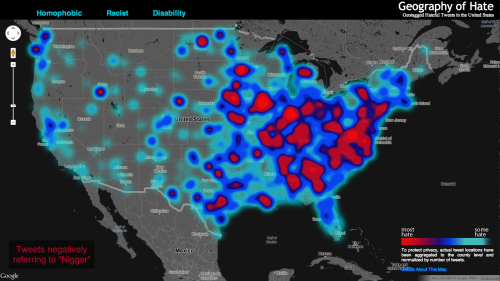 "futurejournalismproject:  The Geography of Hate Speech on Twitter Dr. Monica Stephens, professor at Humboldt State University in California, worked with undergraduate researchers to create The Geography of Hate Map. The map geographically tags and plots homophobic and racist statements tweeted all over America from June 2012 - April 2013. In Stephens' introduction to the map, she explains that HSU collected the data with DOLLY (Data On Local Life and You), a University of Kentucky project that maps social media geography for research.  The Geography of Hate Map suggests that out of 150,000 mapped tweets, most haters reign from the Midwest to the East Coast. Is this accurate? Sort of. Via Time:  Stephens herself notes, ""Even when normalized, many of the slurs included in our analysis display little meaningful spatial distribution,"" and as she later tweeted, ""in the east coast the counties are smaller so if a word is used in adjacent counties it appears as a hotspot,"" which accounts for some of the East Coast / West Coast disparity.  What about hate words that are used in a joking way? As Chris Rock points out in his stand-up: ""It's not always the word [that's offensive], it's the context in which the word is said."" To account for such varying intent, the researchers read each ""hate-tweet"" individually to determine a tweet's sentiment as positive, negative, or neutral — and only negative tweets are shown on the map. Though the study accurately depicts the hate of those Tweeters that managed to make it into the study, the map isn't a perfect depiction of Twitter hate in the US. As Matt Peckham notes: people who haven't enabled geotagging aren't included in the study, meaning there could be more hateful tweets out there that haven't been plotted. Also, more hate words exist than those Stephens chose to incorporate; when those other hate words aren't counted, results are skewed.  FJP: When social media becomes social meanie-a… - Krissy  Image: Screenshot of The Geography of Hate Map"
