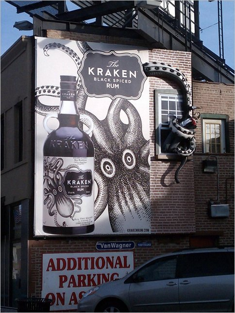 Amazing 3-D Billboards for Kraken Rum in Chicago.