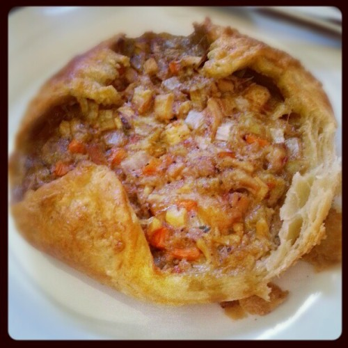 chicken, chili pepper, and artichoke stew baked in a homemade croissant bowl! flaky pastry success!