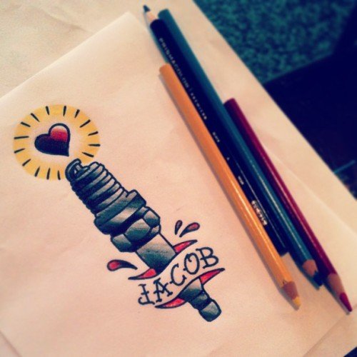 Drawing for tomorrow's appt- cheesy couple tattoos! #cheesy #sparkplug #traditional #apprenticetattoo #sketch #dontgetnamestattooedonyourbody  (at Fuzion Ink)