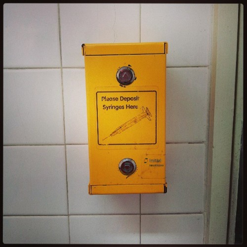 They have this in all public toilets… #OZdownunder #syringedisposal #curiouslittlegirl #interesting #somethingnew #instagrammers #instadaily #igers #instaphoto