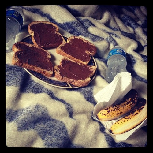 Breakfast in bed with my man. (: