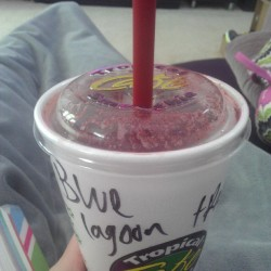 Tropical Smoothie is the perfect solution for a sore throat and bronchitis #tropicalsmoothie #yummy #smoothie #delicious #bluelagoon #bronchitis #sick #stayedhomefromschool #didntgotoschool #toosick #camphangover #campyourfaceoff