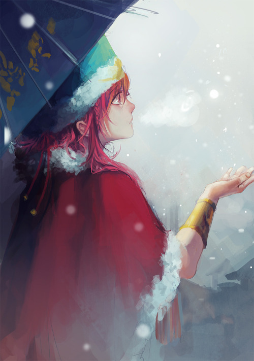 cpieng:  snowflakes receive my hope ../ i wanna try to draw kouha winter's clothes for long time..but..my color tone and speech should be improved:(