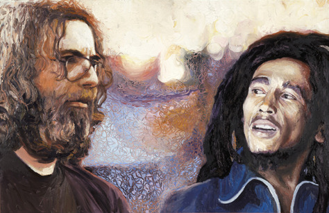 Jerry Garcia & Bob Marley by Phil Kutno This guy has some of the best oil paintings I've ever seen.Too bad i was broke when i walked past his gallery at some Dallas art convention.