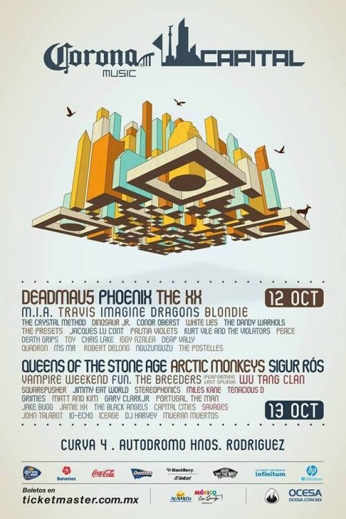 beacontourist:  Cartel oficial Corona Capital 2012 12 y 13 de Octubre.