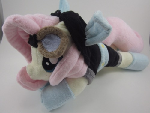 "Flutterspy Plushie is for sale! Check it out here!  She's 15"" long, 7"" tall, and adorable. Her goggles are removeable, and she is 100% soft! Take a look at the auction, and let me know what you think <3 If you can spread the word, it'd be super appreciated! I'm moving out right away, and expenses are wracking up quite a bit (I'm off work due to an injury :/ ) Auction can be found here!"