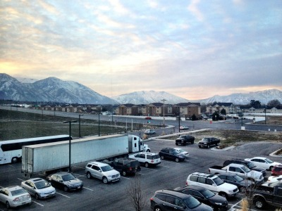 The view out my hotel window in Orem, Utah.