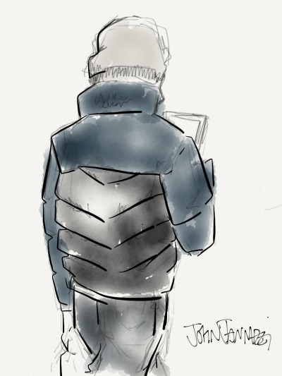 textbook:  Sketch no. 12 Calvin Klein Puffer Jacket, $99.99