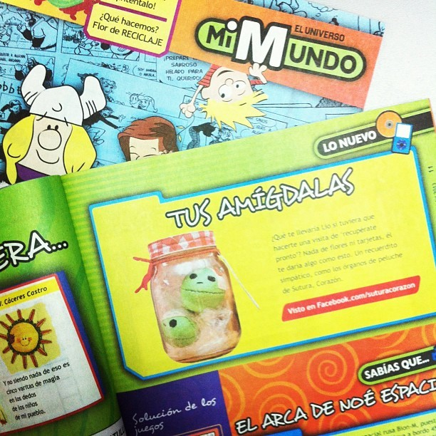 Oh my! Franky & Bubu were #featured on #mimundo #magazine for #kids last #saturday on #eluniverso #newspaper #guayaquil #ecuador #handmade #human #organ #plush #handcraft with #love #heart #tonsils