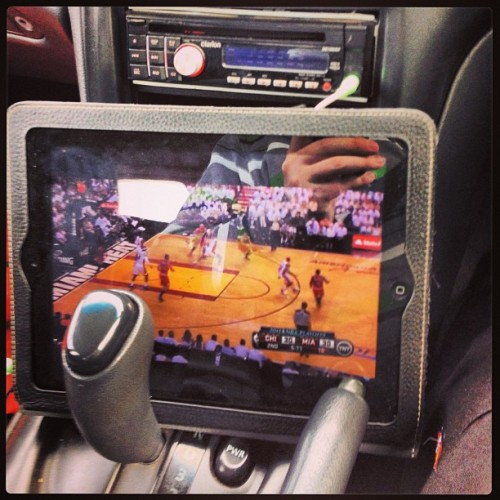 Not the most safe way to watch the #Heat #NBAPlayoffs game but I can't miss a minute of the #WhiteHot action!  (at Deer Park)