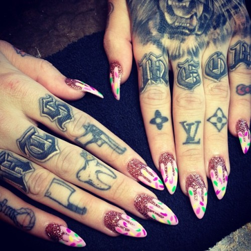 "I want hand tattoos so badly but, like, I know I shouldn't get them. I'm not at the point in my ""career"" where it would be acceptable to have tattooed hands (I'm in social work so it's an office/business attire setting). I never hide my arm tattoos (my thigh ones, yes) but the HR lady hired me knowing I had tattoos so I feel like it's not a big deal. I plan on getting even more, but for now, no hand tattoos. 😥"