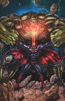 infinity-comics:  Superman Vs Hulk by Stephan Lemineur (Nahp75) Deviant Art - Twitter - Facebook Lines by : Jey Soliva