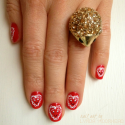 My 2013 Valentine's Day nails (This design is available for purchase as a set of press-on artificial nails here)