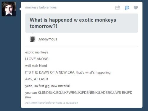 arcticmonkeysus:  exotic monkeys EXOTIC. MONKEYS. YESSSSSSSSSSSSSSSSSSSS