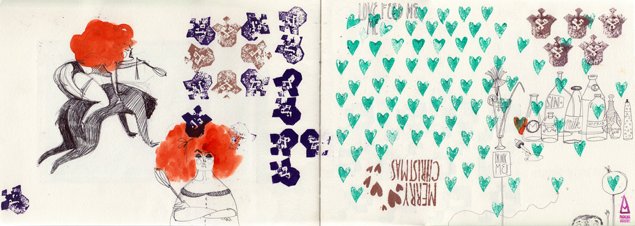 solairebee:  2011 Sketchbook Scans by Madalina Andronic Madalina Andronic is an illustrator based in Bucharest, Romania known for her whimsical, colorful drawings and attention to detail.