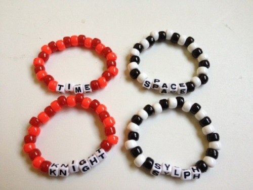 kandistuck:   GOD TIER AND ASPECT BRACELETS Recently we have picked up a few new colored beads and we have some pretty accurate ones to make a few aspect bracelets! At the moment, we have colors for these:  Breath Light Time Space Life  These can be customized in a few different ways;  Aspect: Colors and name of aspect (pictures 1 and 2) Title: Canon titles or it can be your title, ex Prince, Bard, Seer etc (picture 3)   If you have not taken the quiz to find out your title and aspect, do so here!