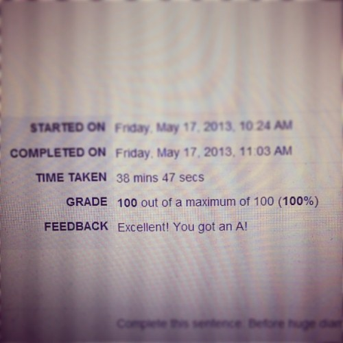 100% on my exam. I'm a happy camper. :) #grades #finals #smart #perfect #school #success