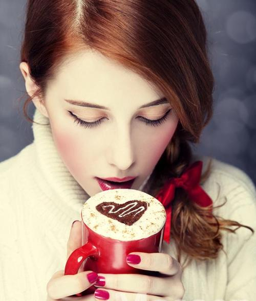 """Redhead girl with coffe. St. Valentine Day"" by Vladimir Nikulin"