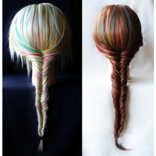 fucktheworldbutlovethepeopleinit:  Fishtail Braid Extensions - Rainbow / Human Hair Set / Turquoise… ❤ liked on Polyvore