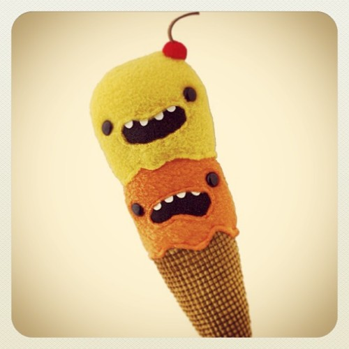 Silly Double Scoop Ice Cream Plushie! http://www.shanalogic.com/freaked-out-ice-cream-cone-plush.html #handmade  #cute #icecream #dessert