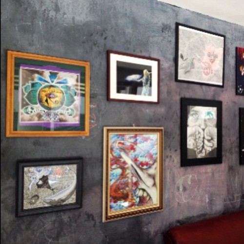 More pieces are hanging up and framed! Art show is Saturday May 25th Outsider's Hair Studio. 100 N Arlington next to Imperial and Whisky!  $30 for 1Print, $50 for 2, & $60 for 3!  #art #openyourcrown #gallery #exhibit #artsocial #gathering #whale #sound #music #painting #color #life #universe #motherearth #earth #mother #deadmau5 #fearandloathing