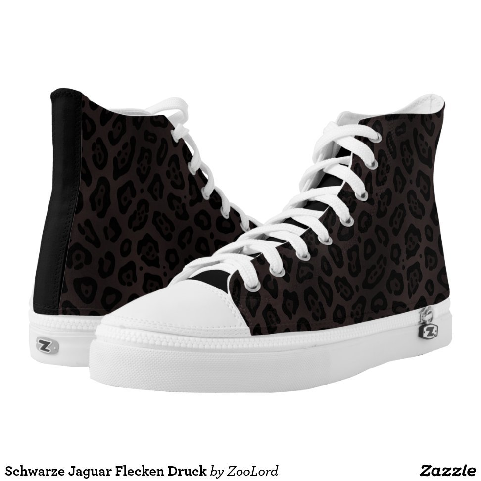 Schwarze Jaguar Flecken Druck High-Top Sneakers - Unique Canvas Shoes With Interchangeable Tops  External image  Buy This Design Here: Schwarze Jaguar Flecken Druck High-Top Sneakers Created by Fashion Designer: ZooLord Look sporty, stylish and elegant in a pair of unique custom sneakers! Each pair of custom Low Top ZIPZ Shoes is designed so you can fit your style to any wardrobe, mood, party or occasion. Fashionable sneakers for kids and adults, ZIPZ shoes give you a unique and personalized way to express yourself!Schwarze Jaguar Flecken Druck High-Top Sneakers Product Information - Unisex sizing: 4-13 Men's | 6-15 Women's - Material and fabric: Durable canvas tops, rubber soles - Buy multiple pairs! ZIPZ shoes are interchangeable, the top cover can be zipped on and off so you can easily switch up your style on the go - Rubber soles are manufactured with extra cushioned insoles and a specially designed arch support system to give your feet a comfortable and healthy fit - Quality you can trust: ZIPZ has been independently tested by SATRA for wear, use, and durability - Additional cost for designing on the tongue of the shoe - Schwarze Jaguar Flecken Druck High-Top Sneakers are printed in Santa Fe Springs, CA #sneakers#shoes#footwear#style#fashion#sports#fashionista#OOTD#streetwear#fashionblogger