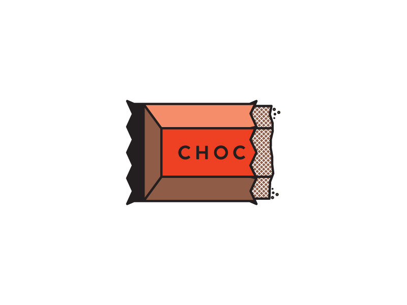 More 2-color illustrations for a project. A half-eaten chocolate bar.