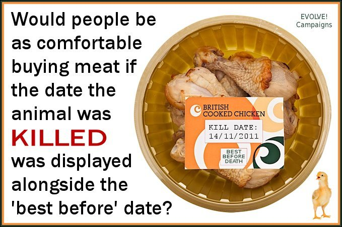 isuckrooster:  tampontears:  veganmovement2012:  Would people be as comfortable buying meat if the date the animal was KILLED was displayed alongside the 'best before' date? Consumers should remember that meat is the dead flesh from a once living breathing sentient animal who didn't want to die.  actually i would feel more comfortable. it would make choosing fresher meat easier. thats a very good idea.   when vegan ideas backfire completely