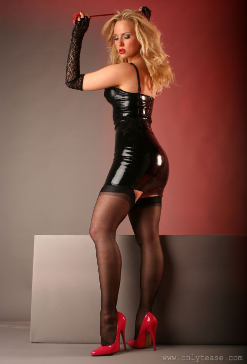 It's funny, to get your attention, I have to take my latex clothes and my high heels on, then suddenly I attract your attention. As you can see I have brought a whip this time, it's going to teach you, always to listen to what I have to say, when I'm done tonight, you'll crawl around on the floor at my feet and call me Mistress.