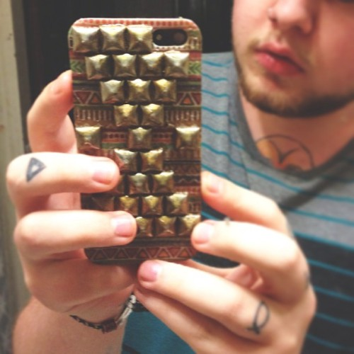 #handmade #iphone #case.   #tribal #studs #studded #fingertattoos #tattoos #homemade #iphone5 #iphonecase
