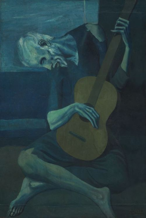 thee-efflux:  Pablo Picasso, The Old Guitarist, 1903.