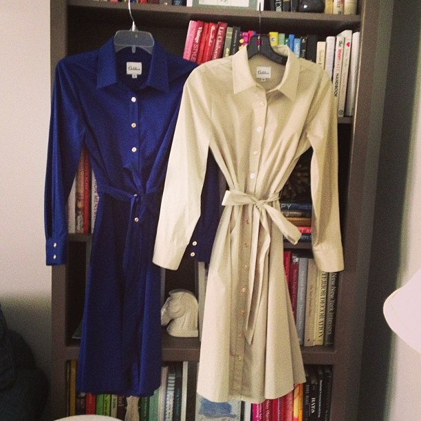 Coming Soon! Classic blue and khaki shirt dresses. #summer